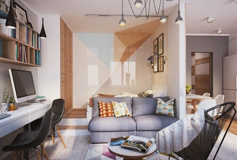 apartamentos pequenos sillas cuero negro armario grande diseno