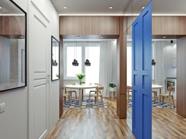 apartamentos pequenos suelos madera natural ideas espejo grande entrada