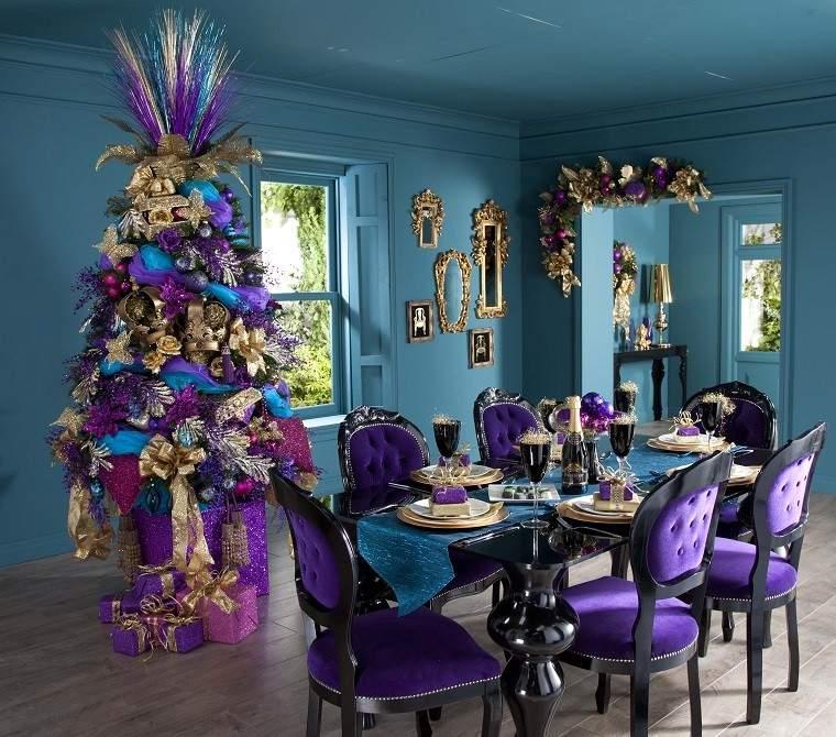 arbol dorado malva diseño navidad decoracion