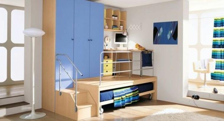 armario empotrado escritorio cama puertas azul ideas