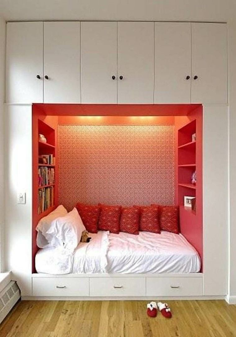 armario empotrado ideas pared cama blanco