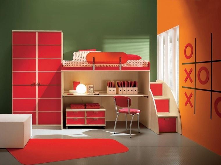 armario empotrado rojo escritorio ideas ideas