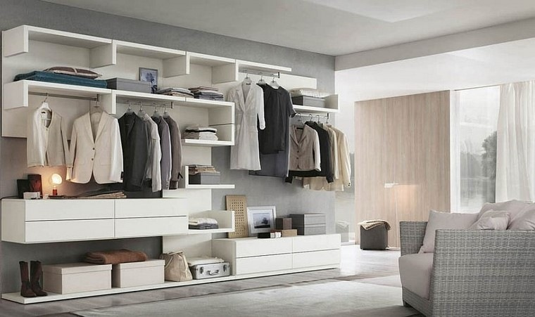 armario modulos blanco ideas modernas dormitorio