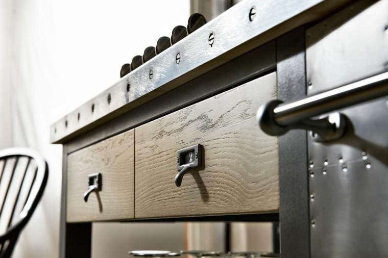 armarios combinacion madera acero ideas inoxidable