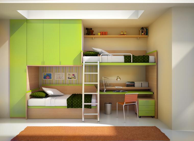 armarios empotrados dos camas verde escritorio