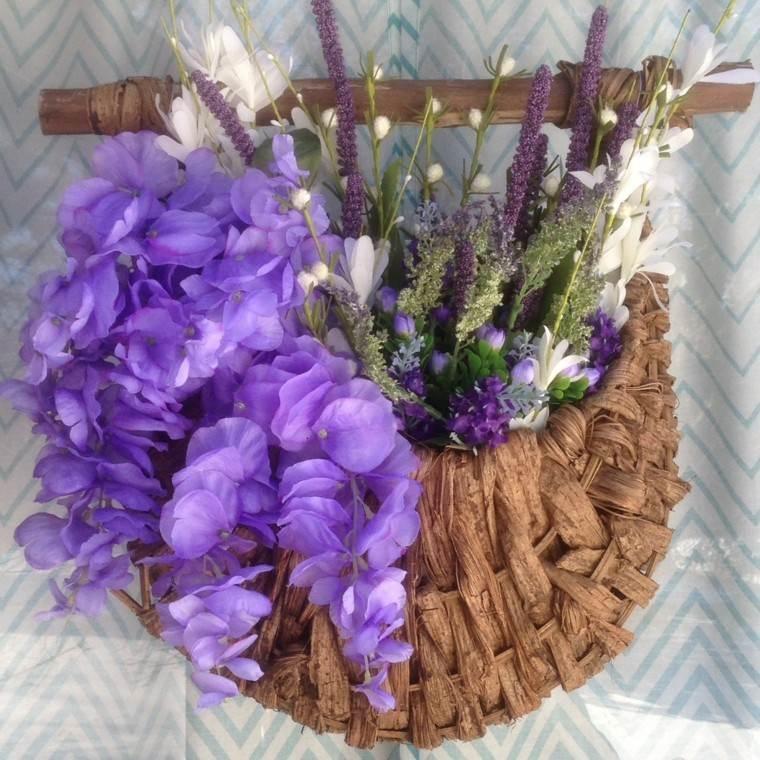 arreglo floral bolsa flores purpura original ideas