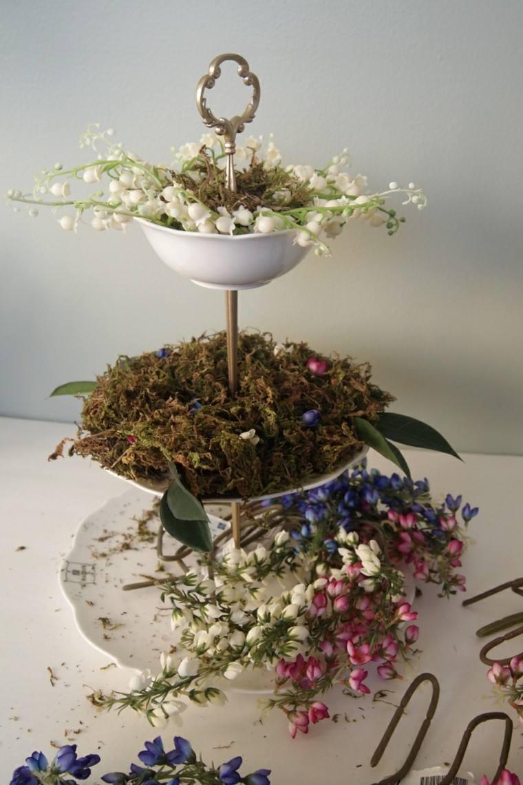 Arreglos florales encantador centro de mesa diy - Centro de mesa con flores artificiales ...