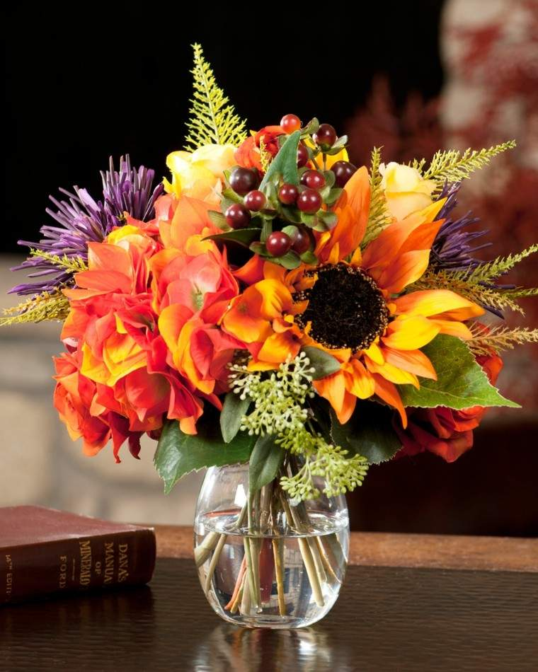 arreglos florales ideas faciles jarron cristal modernas