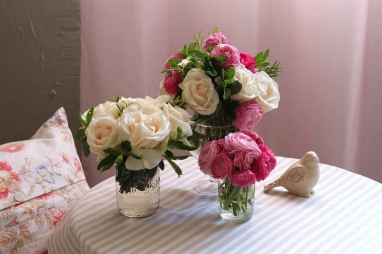 arreglos florales potes cristal reciclaje idea moderna