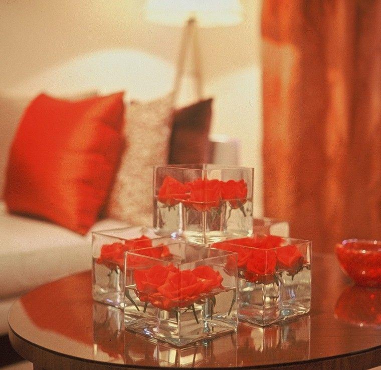 arreglos florales rosas agua recipiente cristal moderna