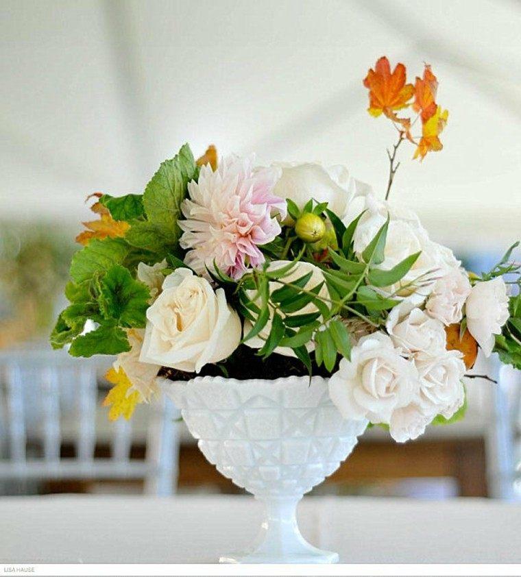 arreglos florales rosas recipiente blanco ideas modernas
