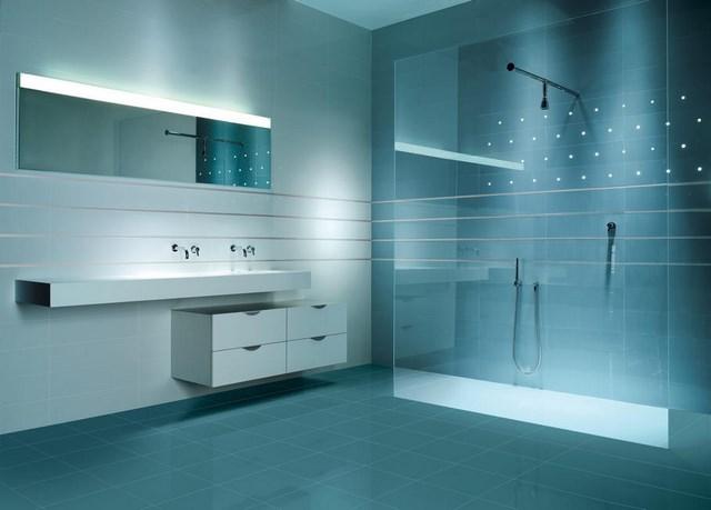 azul contraste ducha espejo led muebles