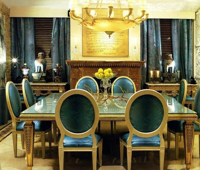 azul dorado diseño comedor calido cortinas