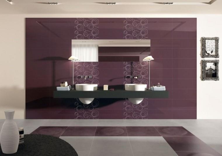 azulejos baño color violeta apagado