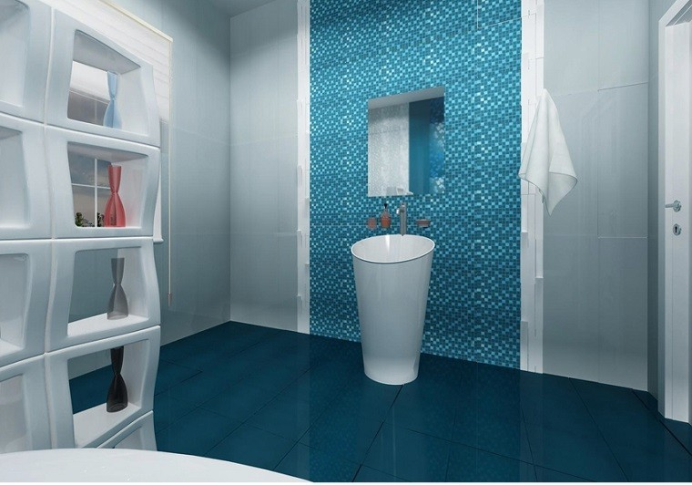 azulejos baño mosaico azul turquesa