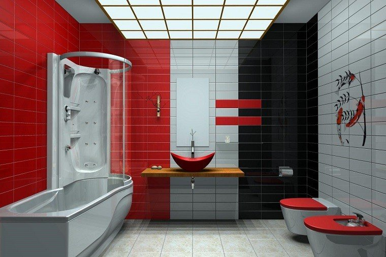 Baños Con Azulejos Rojos:Azulejos baño en los diseños de última moda