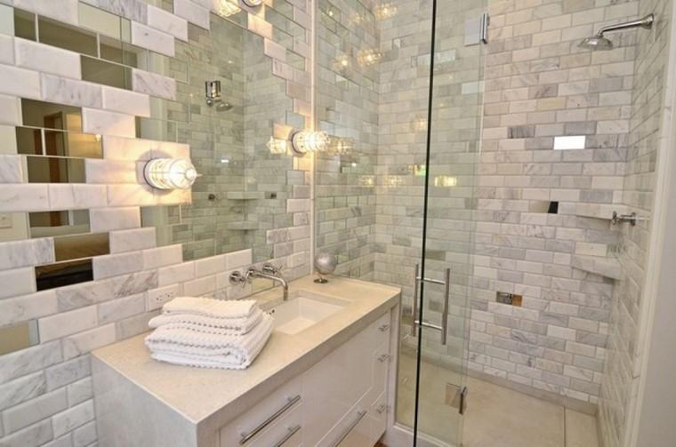 azulejos espejos ideas baño claras modernos