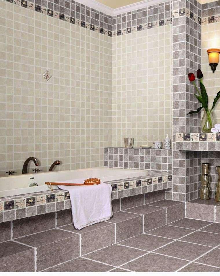 azulejos pequeño ideas baño combinacion moderno