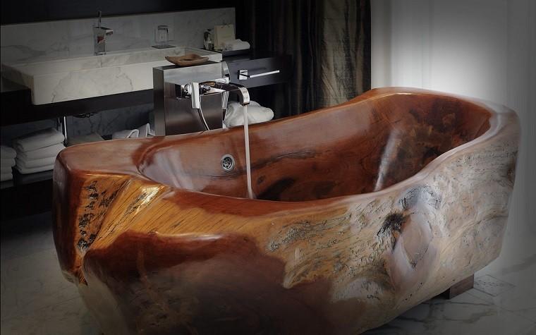 bañera trabajada madera creativa pulida