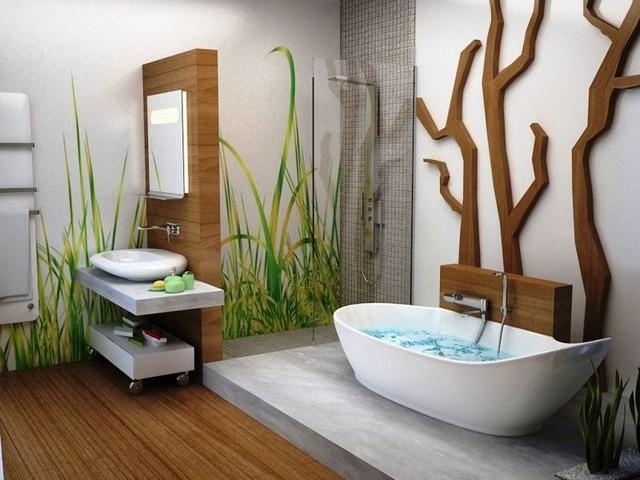 bañera espejo madera plantas lavabo bañera