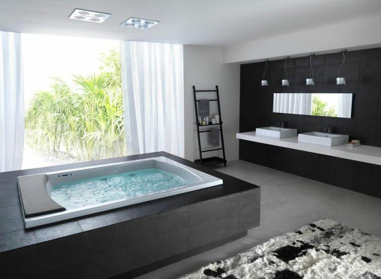 bañera hidromasaje negra rectangular minimalista