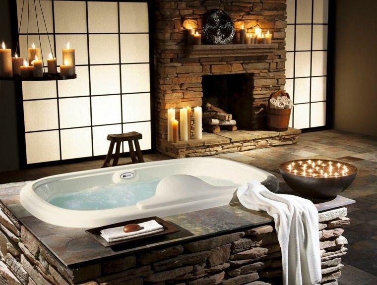 bañera lujosa piedra chimenea rustica
