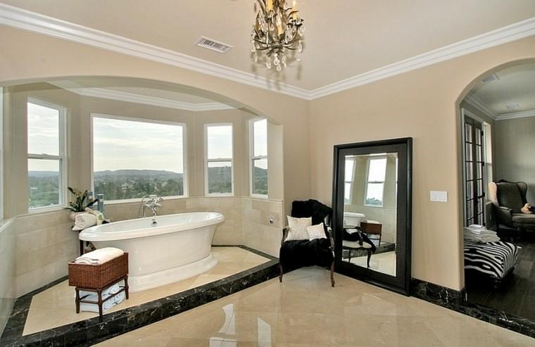bañera marmol vistas espejo negro