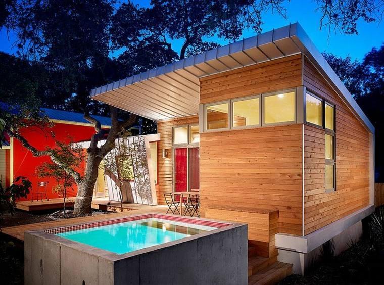 bañera cuadrada pequeña cabaña