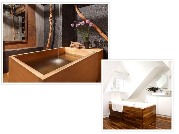 bañeras madera ducha plantas flores