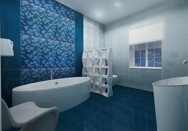 Azulejos Baño Color Azul:baño moderno con azulejos azules