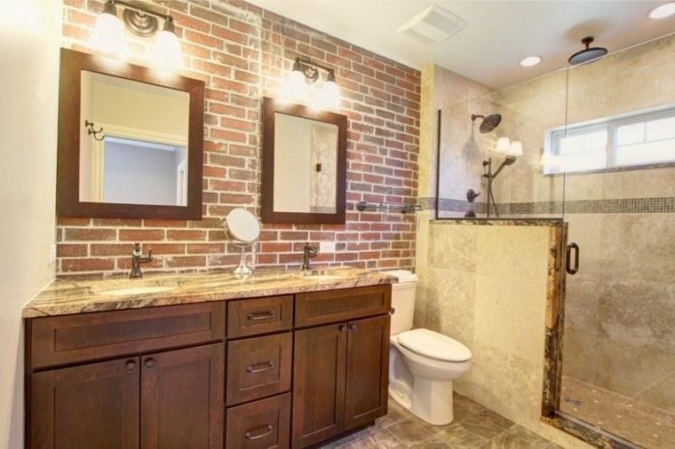 baño bonito pared ladrillos