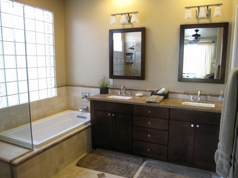 baño estilo clasico muebles madera