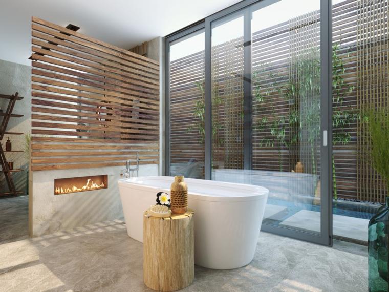 baño estupendo chimenea moderna tropical