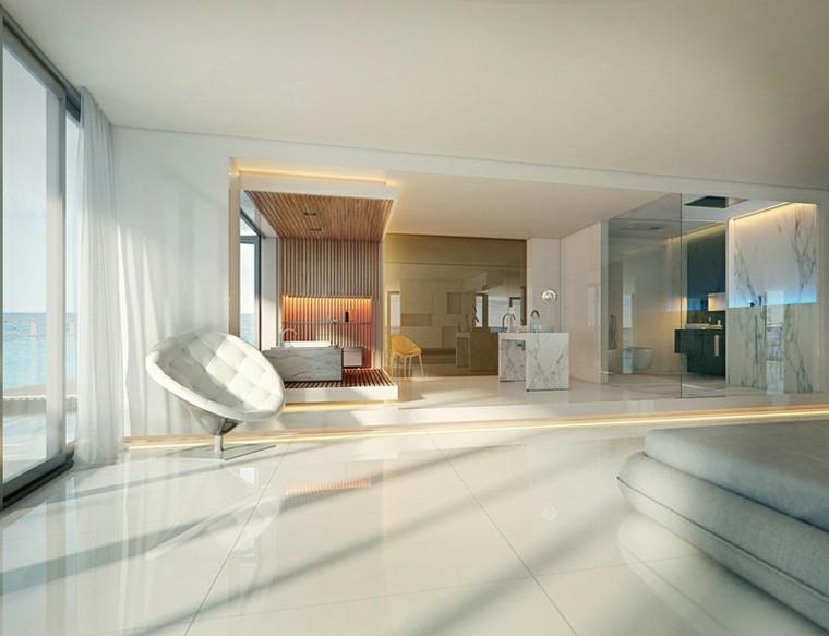 baño lujo moderno cortinas luz natural