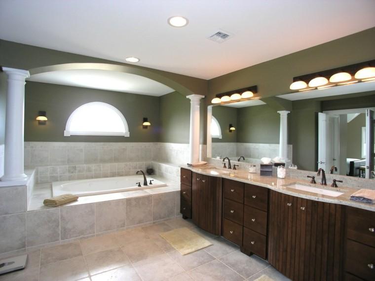 baño lujo moderno lamparas bañera calido