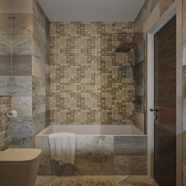 baño minimalista ideas azulejos colores crema moderno