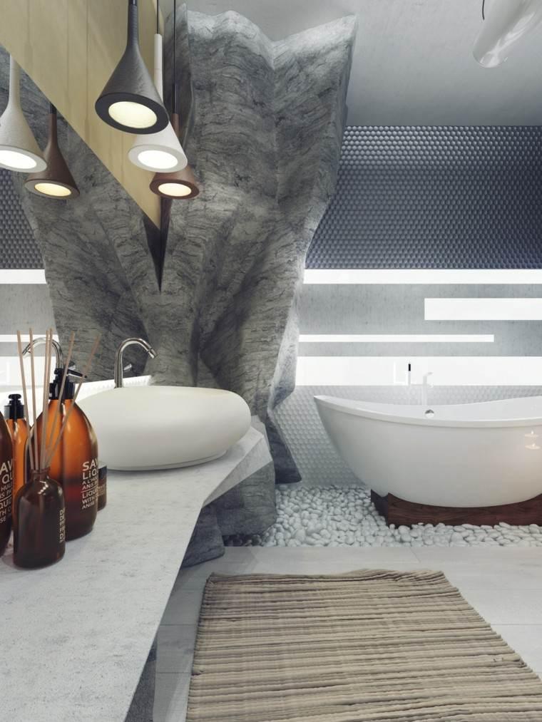 baño moderno botes champu marrones