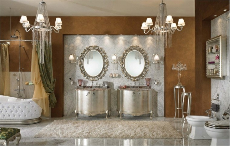 baño romantico muebles espejo mate