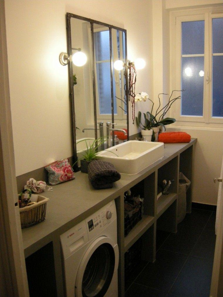baño pequeño macetas luces plantas