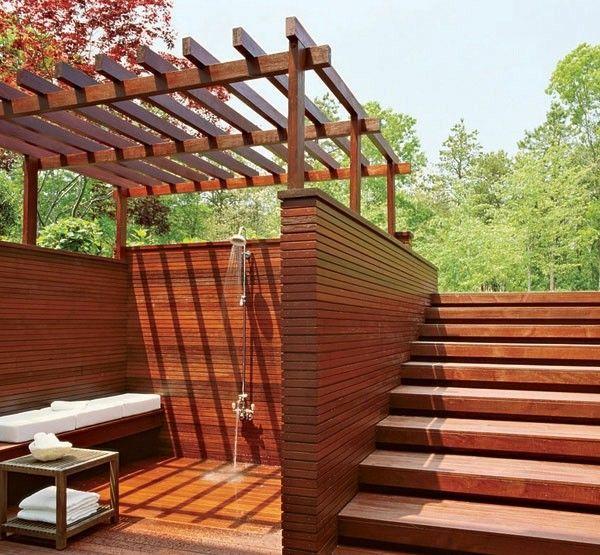 baño spa madera exterior banco