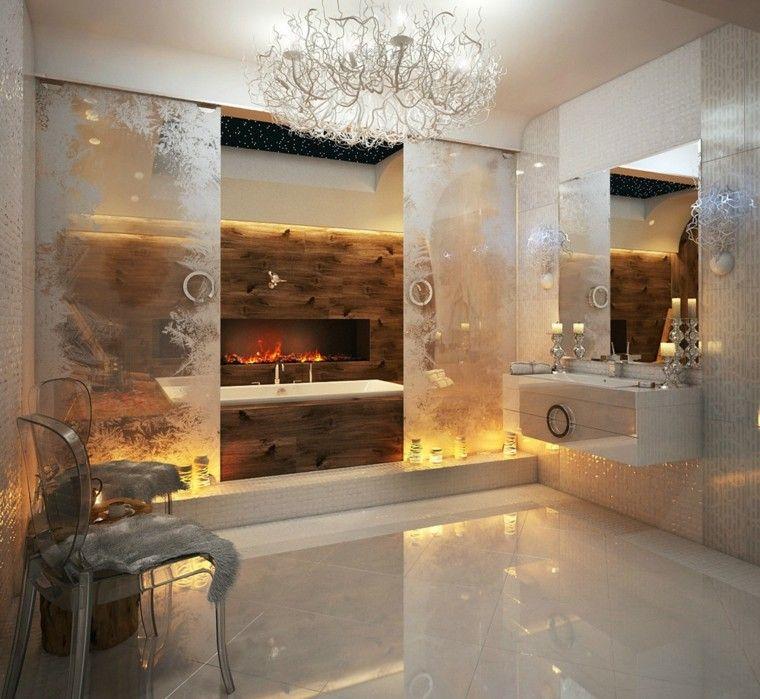 baños lujosos chimenea laminados madera