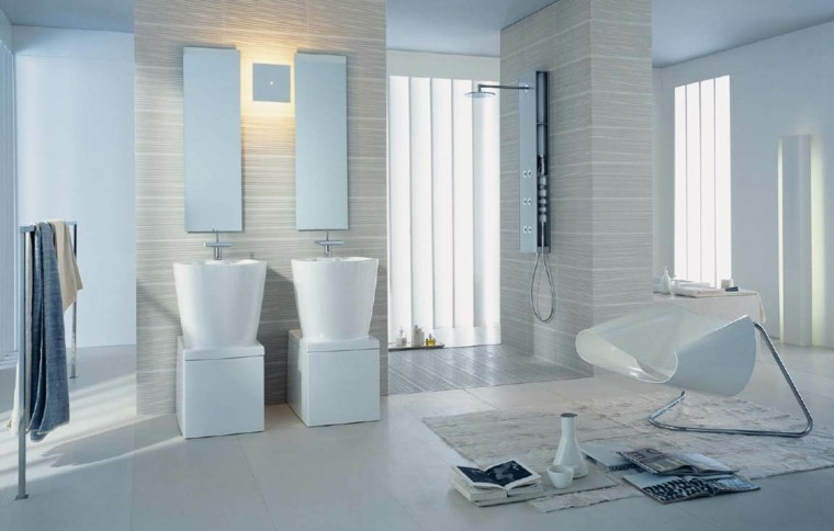 baños modernos estilo minimalista blanco
