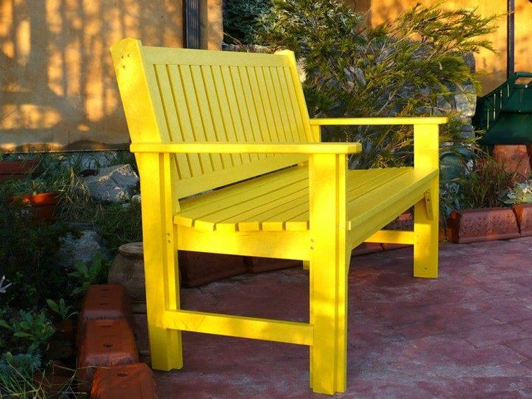 bench yellow wood patio furniture