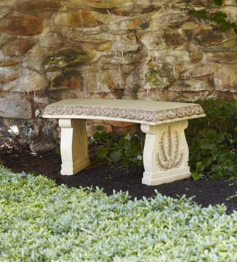banco jardin primavera piedra tallada estilo