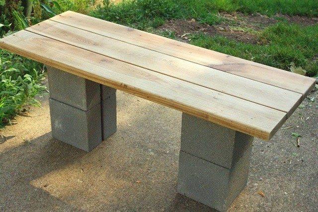 banco madera bloques concreto jardin patio