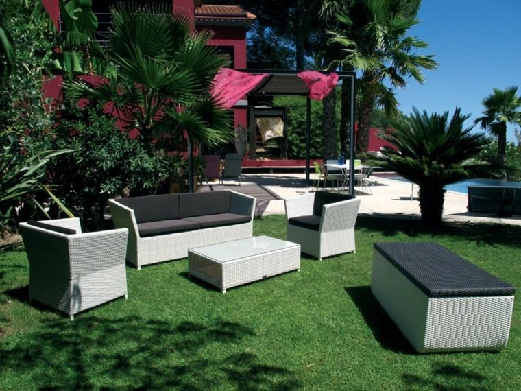 bancos mimbre sofas canapes jardin