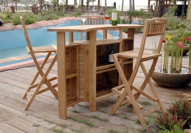 Madera de teca para los muebles de jard n for Bar movil de madera