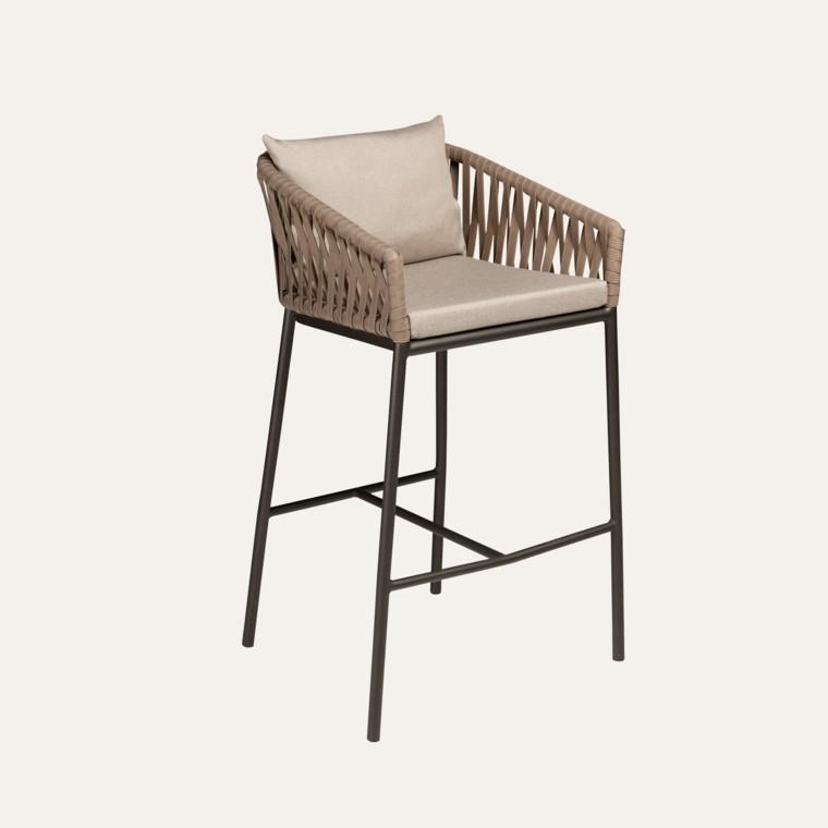 bar silla aluminio exterior cuerdas alta