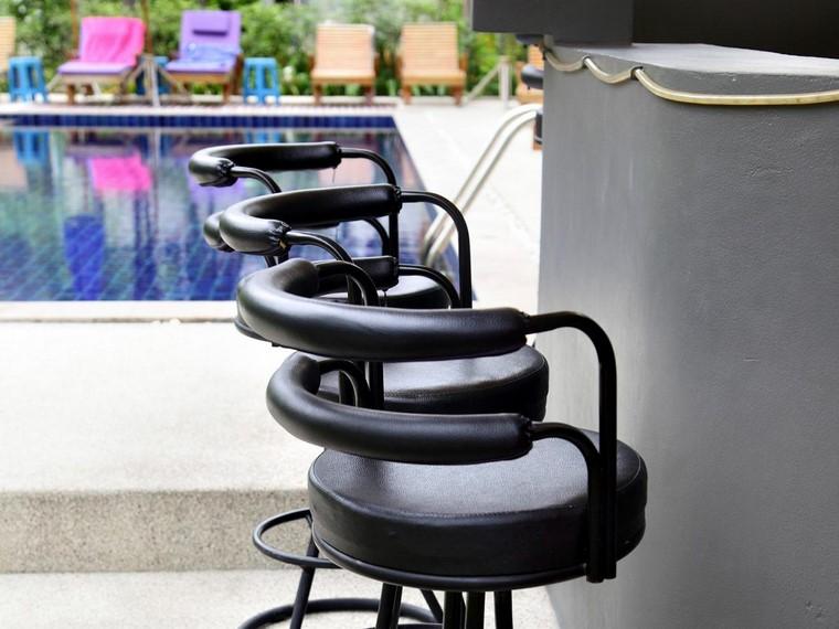 barra piscina sillas cuero negro ideas modernas