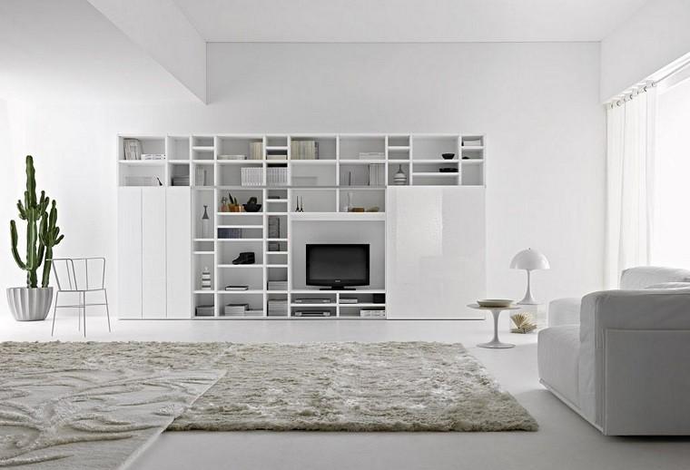 biblioteca blanca grande salon tv